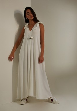 White Crepe Bow Shoulders Dress