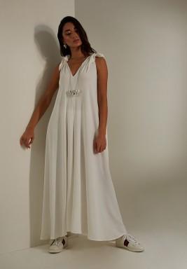 White Wide Legged Crepe Jumpsuit