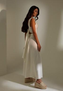 White Linen Bamboo Buckle Dress
