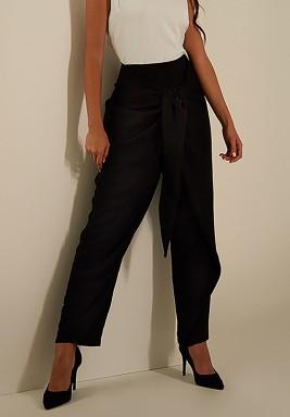 Black Tie-Front Crepe Pants