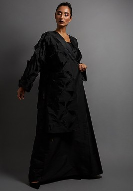 Black Silk Geometric Triangle Side Abaya