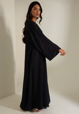 Black Embroidered Classic Cut Abaya