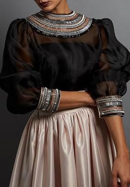 Black Beaded Silk Puffed Sleeves Top
