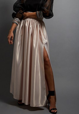 Nude High Waist Rushed Skirt