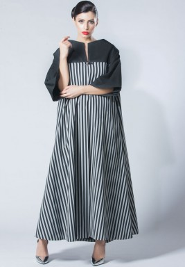 High Collar stripes Abaya