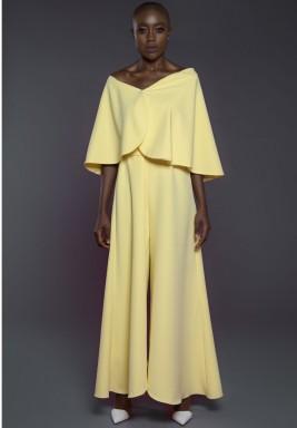 Off Shoulder Jumpsuit Yellow