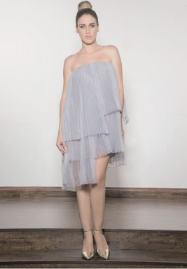 Organza Pleated Layered Cocktail Dress