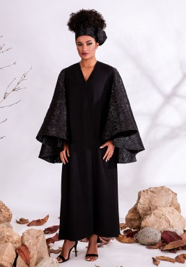 Metallic Jacquard Sleeves Crepe Kaftan