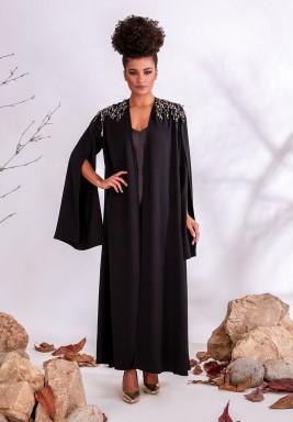 Black Embellished Crepe Abaya