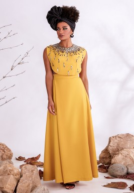 Yellow Embellished Crepe & Tulle Jumpsuit