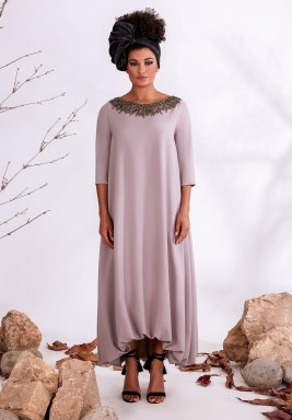 Purple Embellished Neck Crepe Kaftan