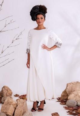 White Embellished Crepe Kaftan