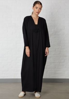 Black Embroidered Button Abaya