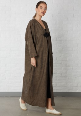 Brown Rope button closing Abaya