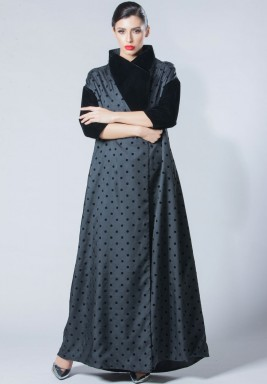 Grey & Black Polka Dot Silk Dress