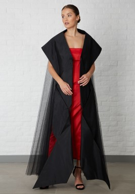 Tulle Abaya oversized with raw silk folds