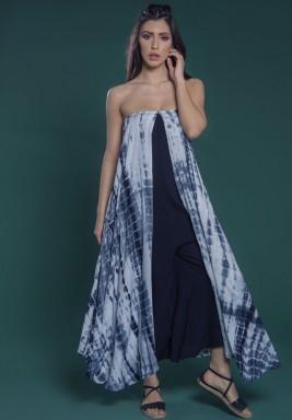 Blue Sleeveless Layered Jumpsuit