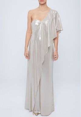 One shoulder silk jumpsuit