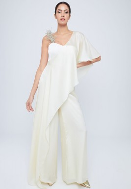 White Wide Legged Silk Jumpsuit