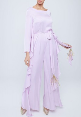 Lilac Silk Ruffled Jumpsuit