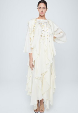 White Ruffled Silk Dress