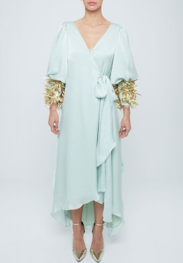 Aqua blue puffed sleeve kaftan