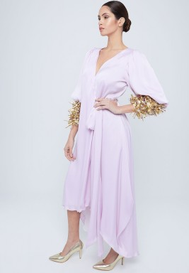 Lilac Puffed Metallic Sleeves Kaftan