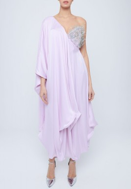 Lilac Ruffled One Shoulder Dress