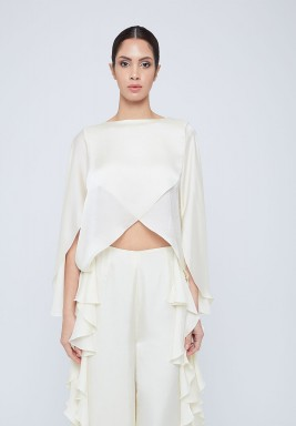 Whisper White Overlapped Silk Blouse