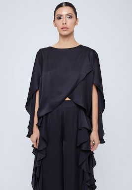Black Overlapped Silk Blouse