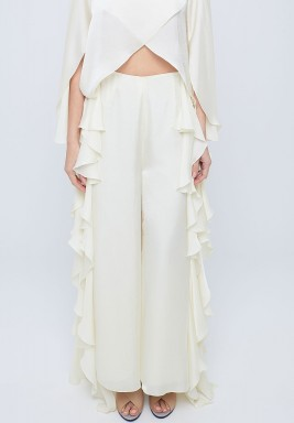 Whisper White Silky Satin Pants