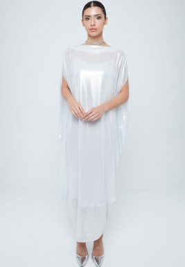 White Metallic Gathered Back Dress