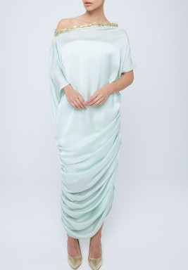 Aqua Blue Silk Pleated Kaftan