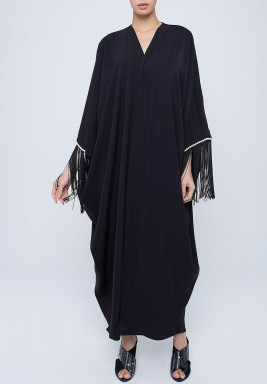 Black Fringed Sleeves Maxi Abaya
