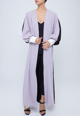 Purple & Black Puffed Sleeves Abaya