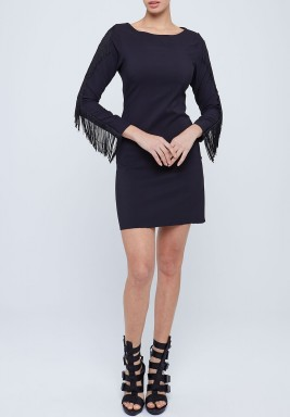 Fringed Sleeve Mini Jersey Dress