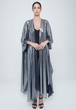 Draped abaya titanium