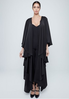 Black Layered Ruffled Silk Abaya