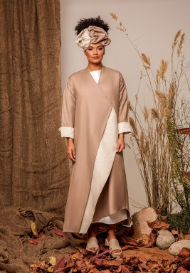 Pink & Beige Linen Abaya