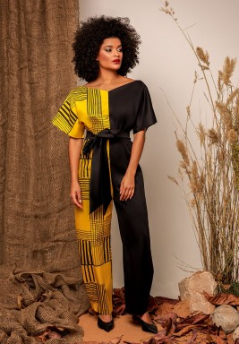 Black & Yellow Linen Jumpsuit