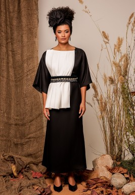 Black & White Linen Belted Kaftan
