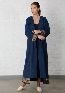 Embellished panel Abaya Blue