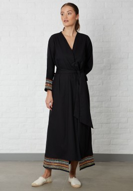 Embellished panel Abaya Black