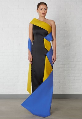 Black Dress With Blue & Yellow Folds