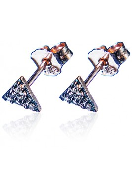 Triangle Earrings-Brown Diamond