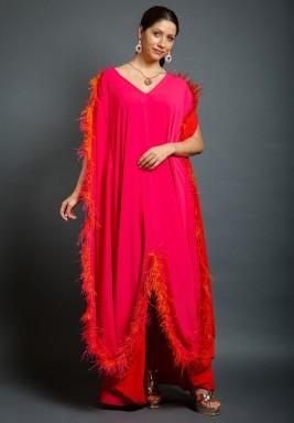 AL-Dhwa Pink & Red Feather Kaftan