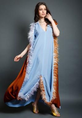 Al Dhwa Blue & Orange Feather Kaftan