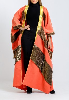 Orange Sequined Jokh Maxi Bisht