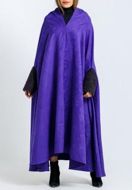 Purple Cloche Printed Back Cape Bisht