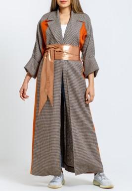 Grey Oversized Coat with Bronze Belt
